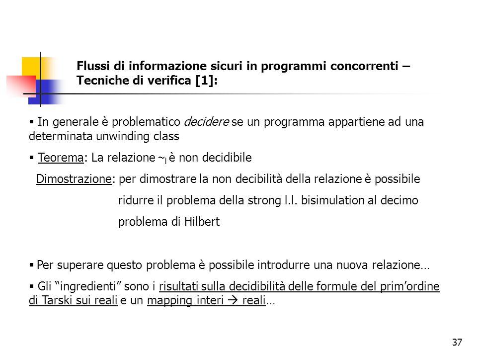 Flussi di informazione sicuri in programmi concorrenti – Tecniche di verifica [1]: